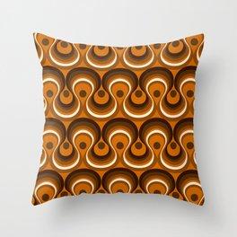 Brown, Orange & Ivory Wavy Lines Retro Pattern Throw Pillow