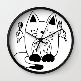 CAT EXPECTING TO EAT Wall Clock