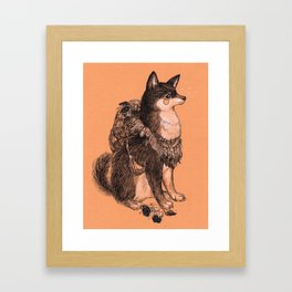 Shibe doge with mushrooms Framed Art Print