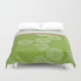 Dahlia Scallops Green and Orange Duvet Cover