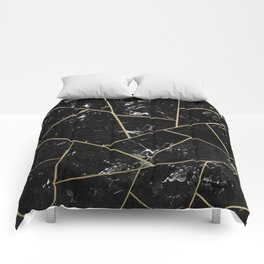 Black Marble Gold Geometric Glam #1 #geo #decor #art #society6 Comforters