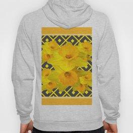 Golden Daffodils Grey Art Design Hoody