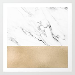 White Marble with Black and Copper Bronze Art Print