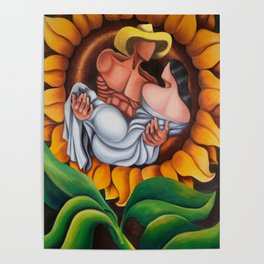 Lovers in sunflower. Miguez Art Poster