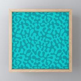 Abstract retro summer teal groovy pattern Framed Mini Art Print