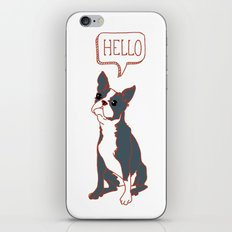 Boston Terrier, Hello, Red, Black, Grey iPhone & iPod Skin
