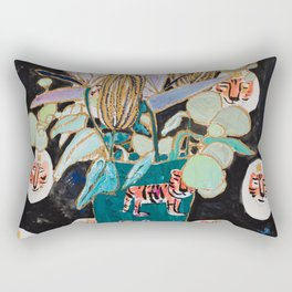 Dark Floral Still Life with Banksia Pods and Tigers Rectangular Pillow
