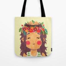 Bird Nest Girl in the Spring Season Tote Bag