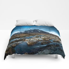 Mountain ice clouds blue Comforters