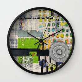 Lime & Navy Abstract Art Collage Wall Clock