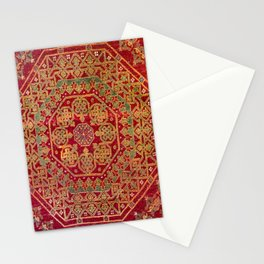 Bohemian Medallion VII // 15th Century Old Distressed Red Green Coloful Ornate Accent Rug Pattern Stationery Cards
