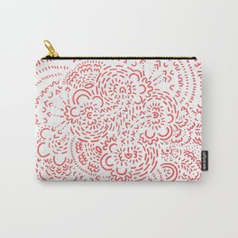 Red and White Dash Pattern Carry-All Pouch