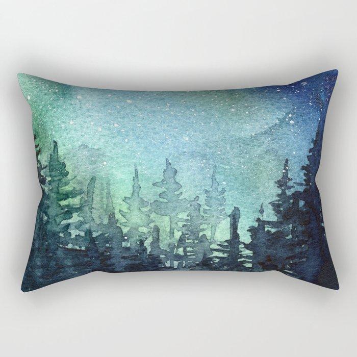 Galaxy Watercolor Aurora Borealis Painting Rectangular Pillow