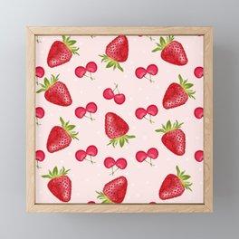 Strawberries Cherries Fiesta Pattern Framed Mini Art Print