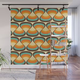Wavy Turquoise Orange and Brown Retro Lines Wall Mural