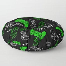 Video Games Green on Black Floor Pillow