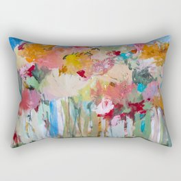 Spring Bloom Flower's Garden Abstract Contemporary Original Art Rectangular Pillow