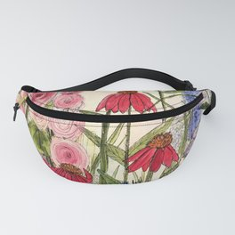 Cottage Garden Flower Whimsical Acrylic Painting Fanny Pack