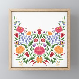 Hungarian folk pattern – Kalocsa embroidery flowers Framed Mini Art Print