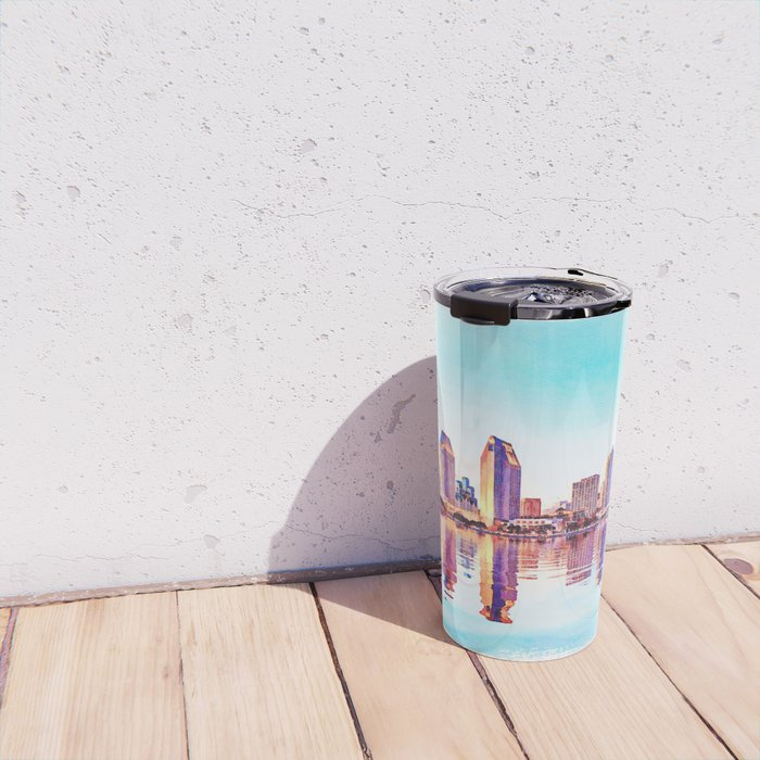 Watercolor of San Diego Skyline at dusk Travel Mug