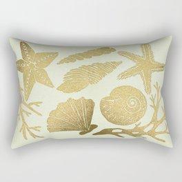 Gold Seashells Rectangular Pillow