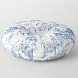 Powder Blue Chinoiserie Toile Floor Pillow
