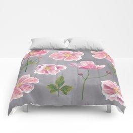 Japanese Anemone Flower Painting Comforters