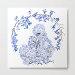 Silkie Chickens and Bluebells Metal Print