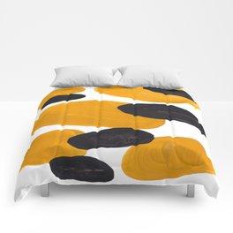 Mid Century Abstract Black & Yellow Fun Pattern Floating Mustard Bubbles Cheetah Print Comforters