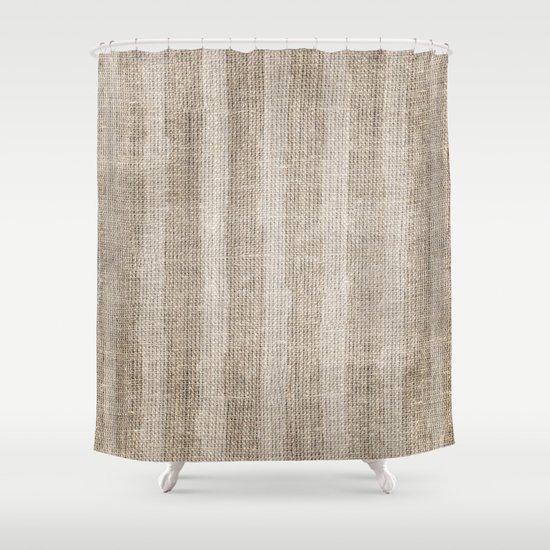 Striped Burlap Shower Curtain