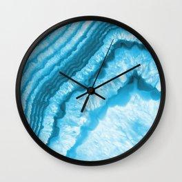 Blue & White Geode Rock Agate Slice Wall Clock