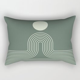 Geometric Lines in Sage Green 3 (Rainbow Sun and Ocean abstraction) Rectangular Pillow