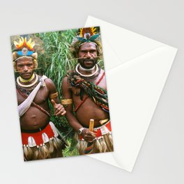 Two Authentic Rural Villagers In Exotic Papua New Guinea Stationery Cards