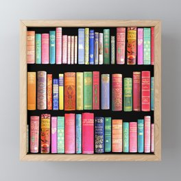 Vintage Book Library for Bibliophile Framed Mini Art Print