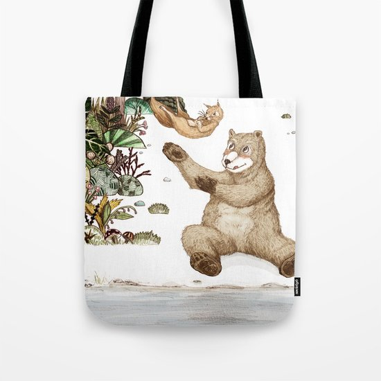 Mr.Brown is playing with the squirrel Tote Bag