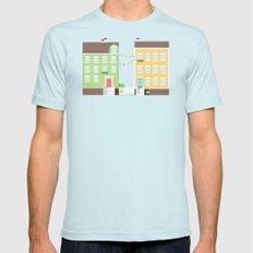 Little Houses SMALL Light Blue Mens Fitted Tee