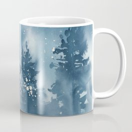 Blue Mountain Forest 2 Watercolor Painting Coffee Mug