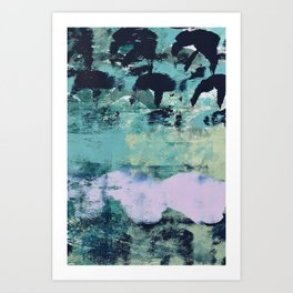 012.2: a bright contemporary abstract piece in teal and lavender by Alyssa Hamilton Art  Art Print
