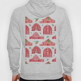 Watercolor Snowy Red Holiday Barns Hoody