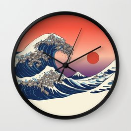 The Great Wave of Sloth Wall Clock