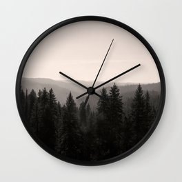 Sepia Tree Lined Valley Photography Print Wall Clock