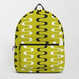 Geometric Pattern 240 (mustard wavy lines) Backpack