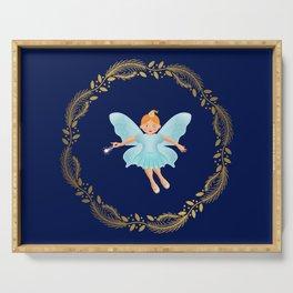 The Nutcracker Christmas Special - Nutcracker Scene -Sugar Plum Fairy in Golden Christmas Wreath (Royal Blue) Serving Tray