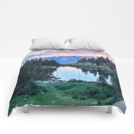 Hikers Bliss Perfect Scenic Nature View \ Mountain Lake Sunset Beautiful Backpacking Landscape Photo Comforters