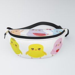 Kawaii blue green orange pink yellow chick with pink cheeks and winking eyes, pastel colors Fanny Pack