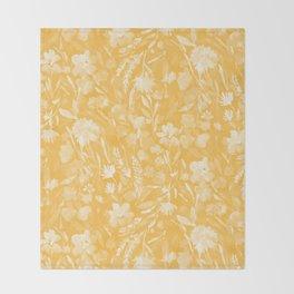 Upside Floral Golden Yellow Throw Blanket