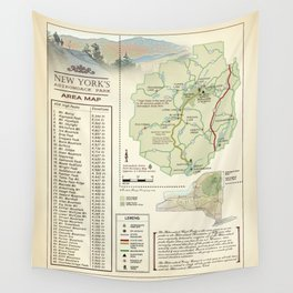 New York State Adirondack/High Peaks table [vintage inspired] Map print Wall Tapestry