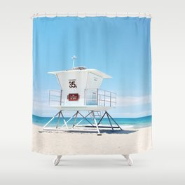 Lifeguard tower Carlsbad 35 Shower Curtain