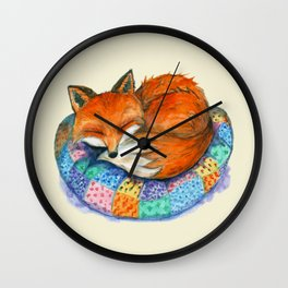 Sleeping Baby Fox On Patched Pillow Wall Clock