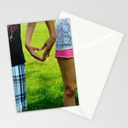 Makers of Love- A couple making a heart with their hands Stationery Cards